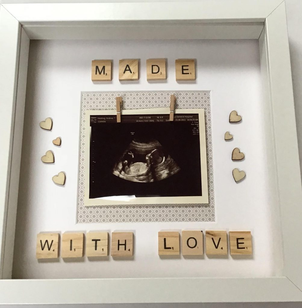 Made with Love baby's scan holder. A frame to treasure the first scan of your baby. Keepsake, new family, new baby gift