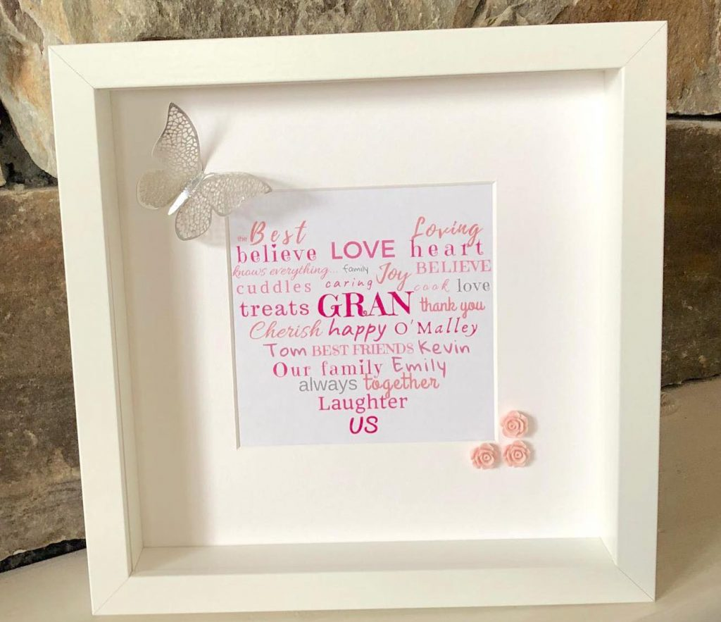 Love you Gran, Personalised Frame for Gran, granny, grandmother, nana for all occasions. Birthday, mothers' day , anniversary, thank you gift word art word heart