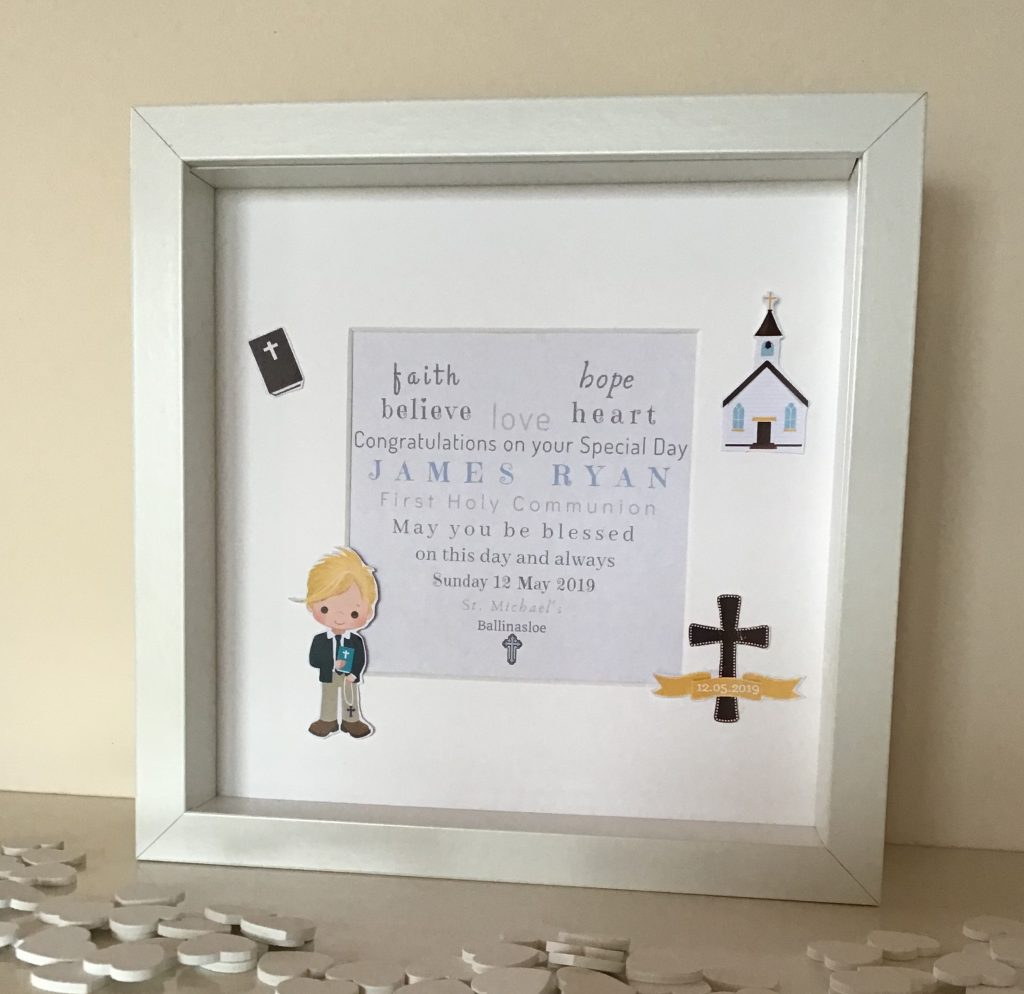 personalised Holy Communion Frame, First Holy Communion, personalised frames , personalised prints, unique gift