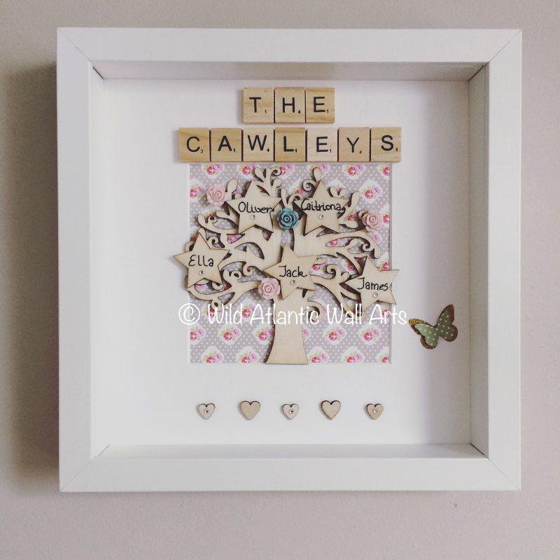 Personalised family tree frame. Keepsake -family gift - scrabble letters- wooden tiles