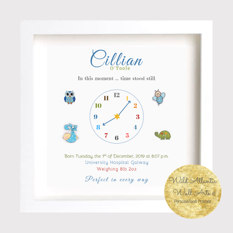 Personalised Baby Clock Frame. Personalised Gift Frame for Birth, Birthday. Baby, Child Gift idea. Birth Stats, Baby's keepsake. New parent gift.