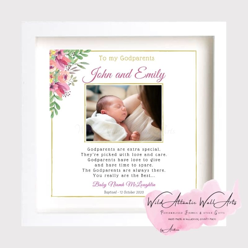 Thank you gift for godmother, godfather, thank you godparents present, godmother gift, Lovely personalised Godmother or Godfather Thank you frame makes a unique keepsake to thank the Godmother for being part of the special day. Christening Personalised Frame. Thank you to be my godmother godfather. A Godmother is a gift from above. Bringing kisses, hugs and never ending love. Walking beside me to help and guide me. Thank You for being my Godmother.. Godparents are extra special, They're picked with love and care. Godparents have love to give and have time to spare. The Godparents are always there. You really are the Best...