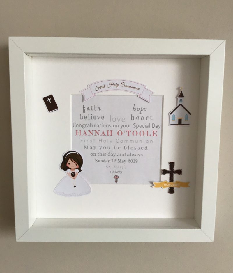 First Holy Communion Gift Frame, personalised print, personalised frame, holy communion, communion gift, confirmation, unique gift, hand-made