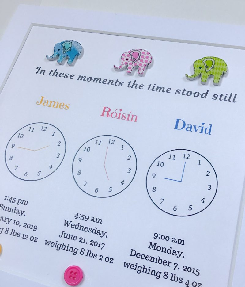 In this moment, the time stood still.. Personalised Birth Stats New Baby Gift, christening gift, home decor