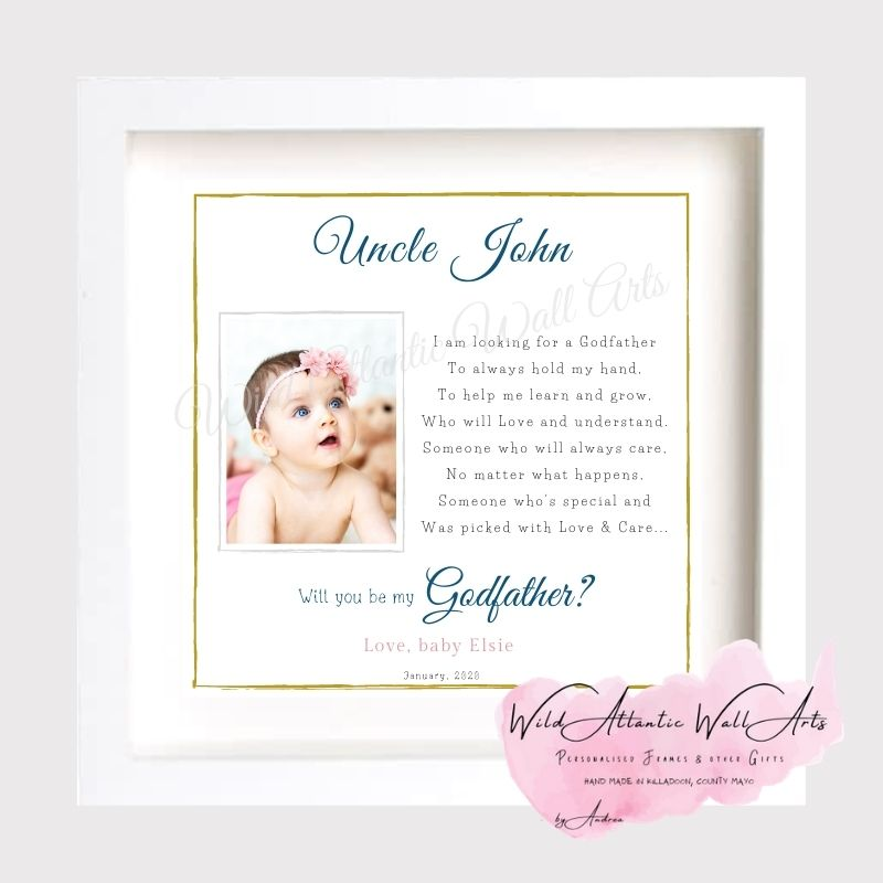 this lovely personalised Godmother or Godfather Word Art heart makes a unique keepsake to thank the Godmother for being part of the special day. Christening Personalised Frame