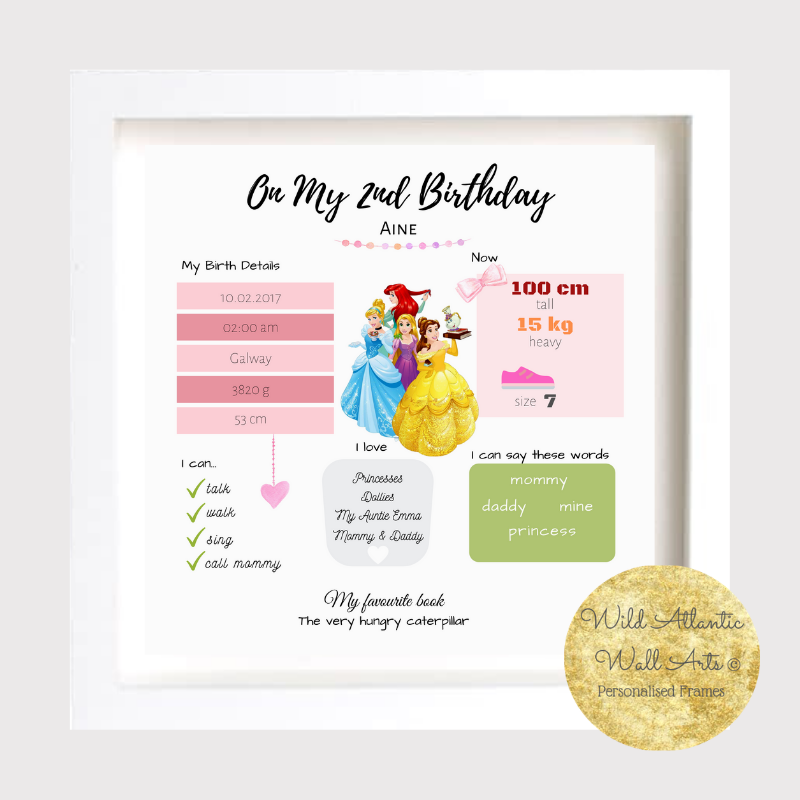 Birthday gift, first birthday idea, Personalised frame. Treasure Baby's milestones. Room decoration. Archival print. Photo print. Wild Atlantic. Louisburgh. Small Business.