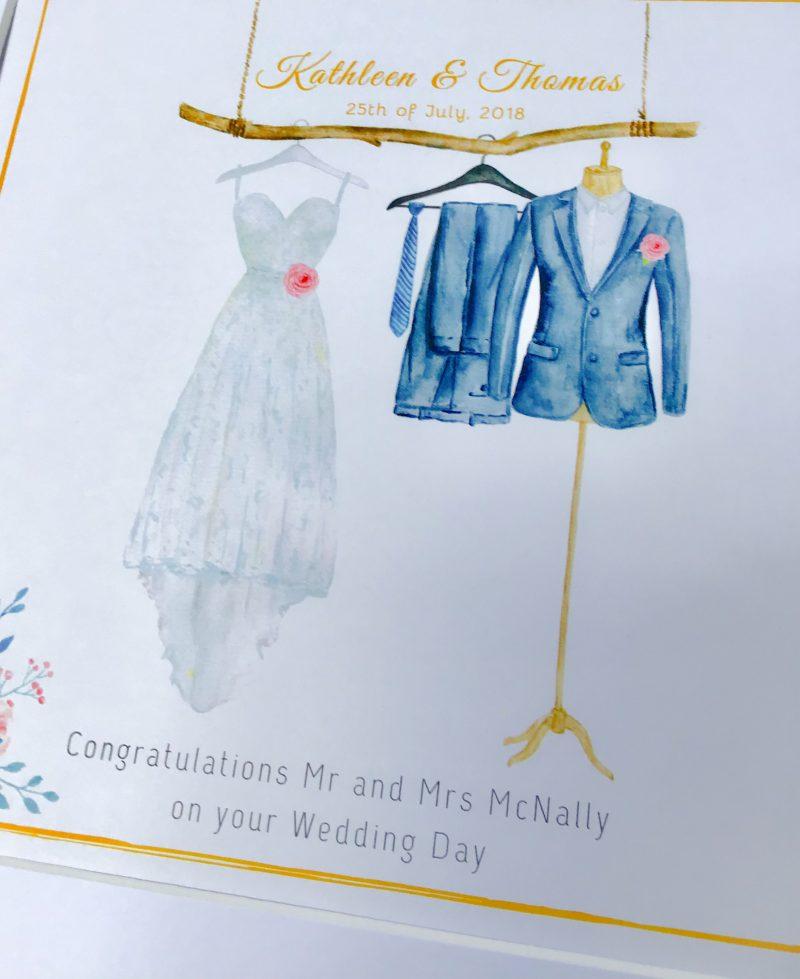 Personalised Wedding Gift Frame. Wedding dress / Suit Print..wedding, civil partnership, anniversary etc. wedding gift keepsake.