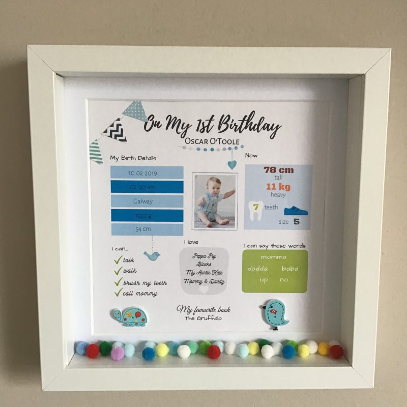 Birthday gift, first birthday idea, Personalised frame