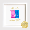 Engagement gift keepsake. Wedding planning, hen do. Welly print