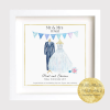 Personalised Wedding Dress and suit print with bride and groom's names and other family members. Wedding Keepsake, Gift Frame. Newly wedding, wedding gift