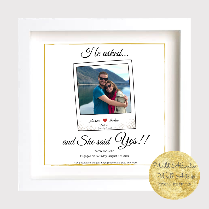 Celebrate the engagement with a personalised frame... Whether it be a gift or a personal purchase the frame will help treasure the special occasion.. Print includes the couple's own engagement picture. engagement gift, engaged keepsake. present for engaged couple, present gift engagement, congratulate, gift frame, delivery Ireland