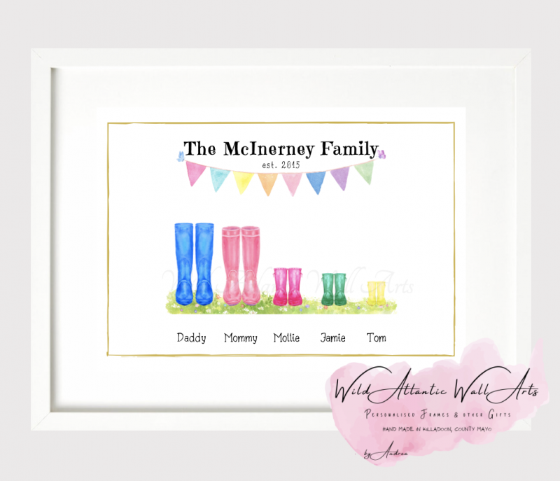 Personalised wellies, welly boots frame makes an ideal gift to any family. It suits to any occasions, wedding, christening, new home, new family, grandparents, godparents gift . Kids wellies, welly family. welly boots family