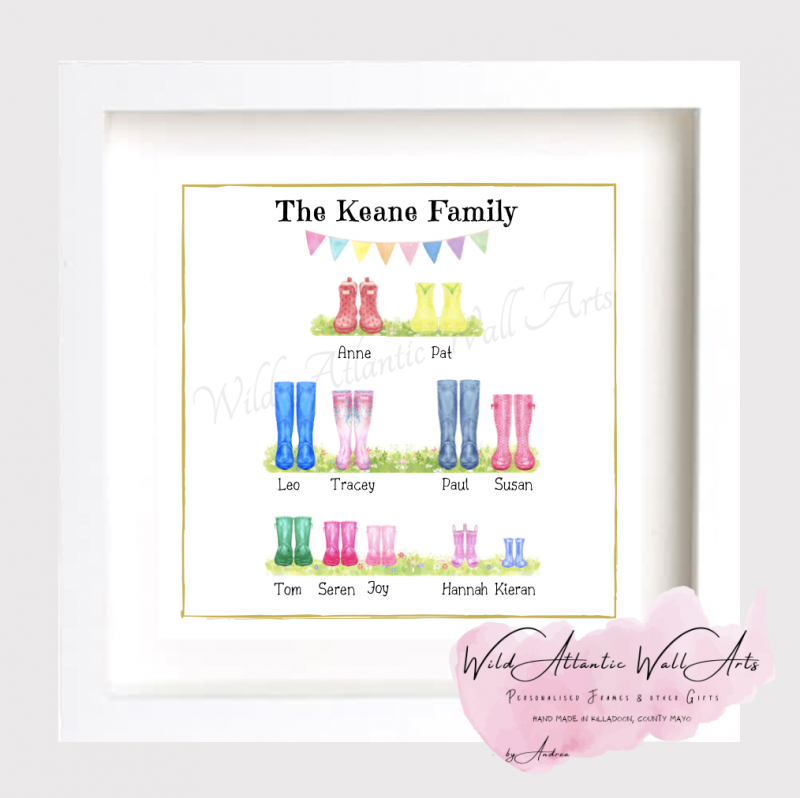 Family tree, Personalised wellies, welly boots frame makes an ideal gift to any family. It suits to any occasions, wedding, christening, new home, new family, grandparents, godparents gift . Kids wellies, welly family. welly boots family