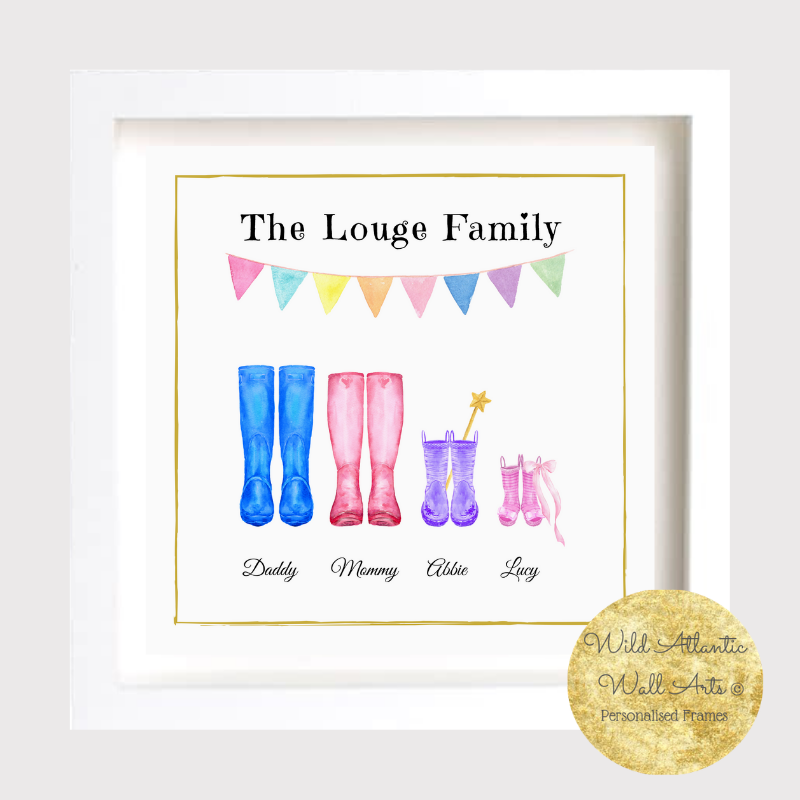 Personalised wellies, welly boots frame makes an ideal gift to any family. It suits to any occasions, wedding, christening, new home, new family, grandparents, godparents gift to a