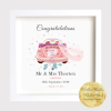 Personalised wedding gift frame to the special newly wedded couple. Customize with your own message. It shows a pink car with a number plate showing their name. Wedding keepsake to mark the day.