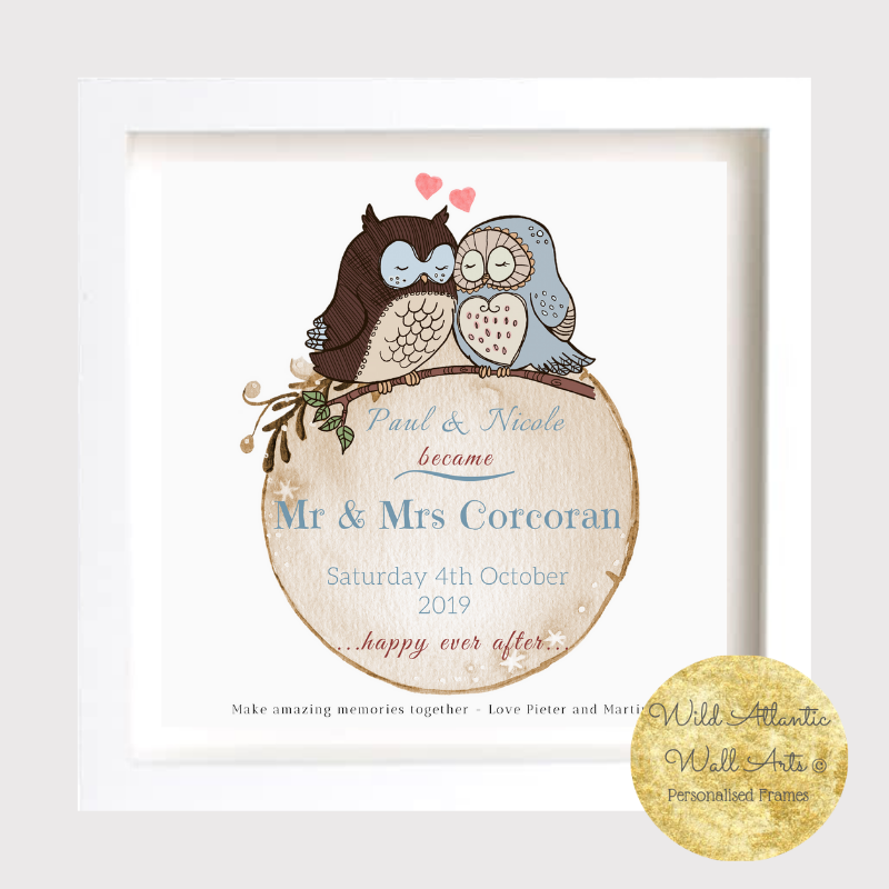 Personalised wedding Love Birds gift frame to the special newly wedded couple. Customize with your own message. Wedding keepsake to mark the day.