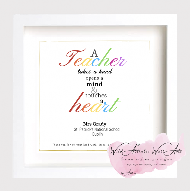 Teacher end of the year gift idea, teacher's gift, teacher present. My Teacher is The Star Thank You Gift Frame for teacher, assistant, au pair, childminder. Personalised Gift. irish. Teacher takes a hand, opens a mind and touches the heart.