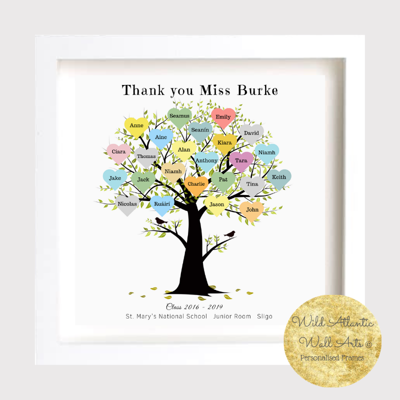 Personalised Family Tree Print Frame - Beautiful Print Framed family gift Mother's Day Father, New Home, new family, team, colleagues, anniversary. Thank you Teacher Gift.