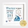 land ahoy, beside the sea themed nursery room, birth stats, new baby gift