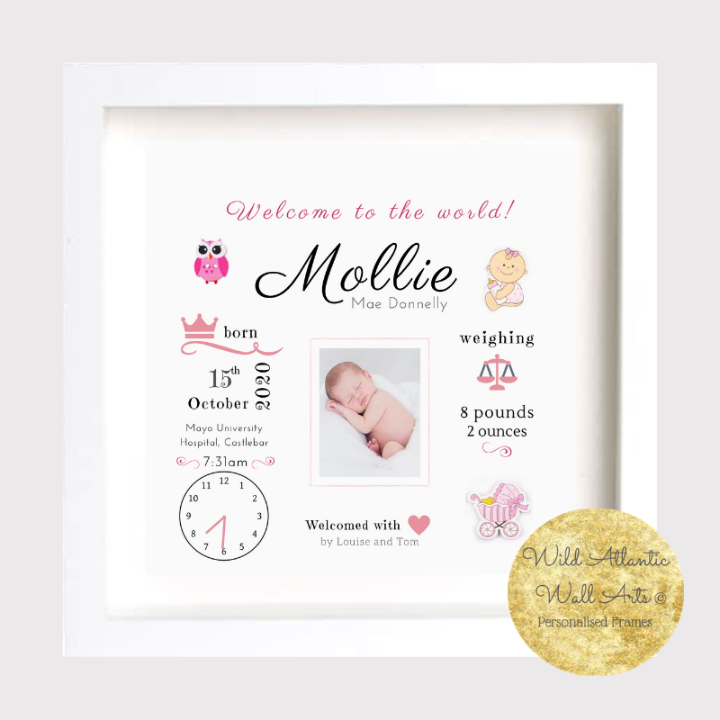 Welcome to the World birth stats, new baby gift, baby's own picture frame. Personalised New baby Gift. Baby, kids, gift idea.