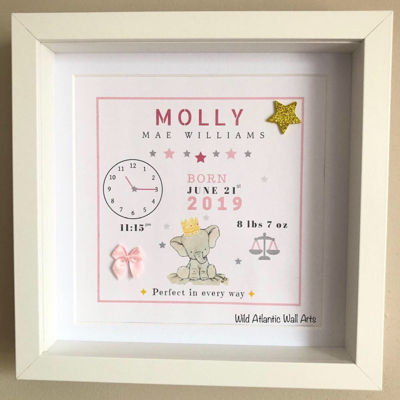 Baby Elephant Birth Stats, New Baby Gift, christening gift, personalised frame displays all the birth details of the baby. Keepsake, Treasure baby's details. Blue for boys, pink for girls