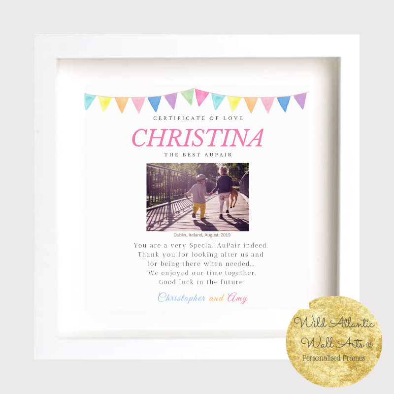 AuPair, Childminder, Nanny Personalised thank you frame. Gift as a thank you present. Personalised frames, keepsakes.