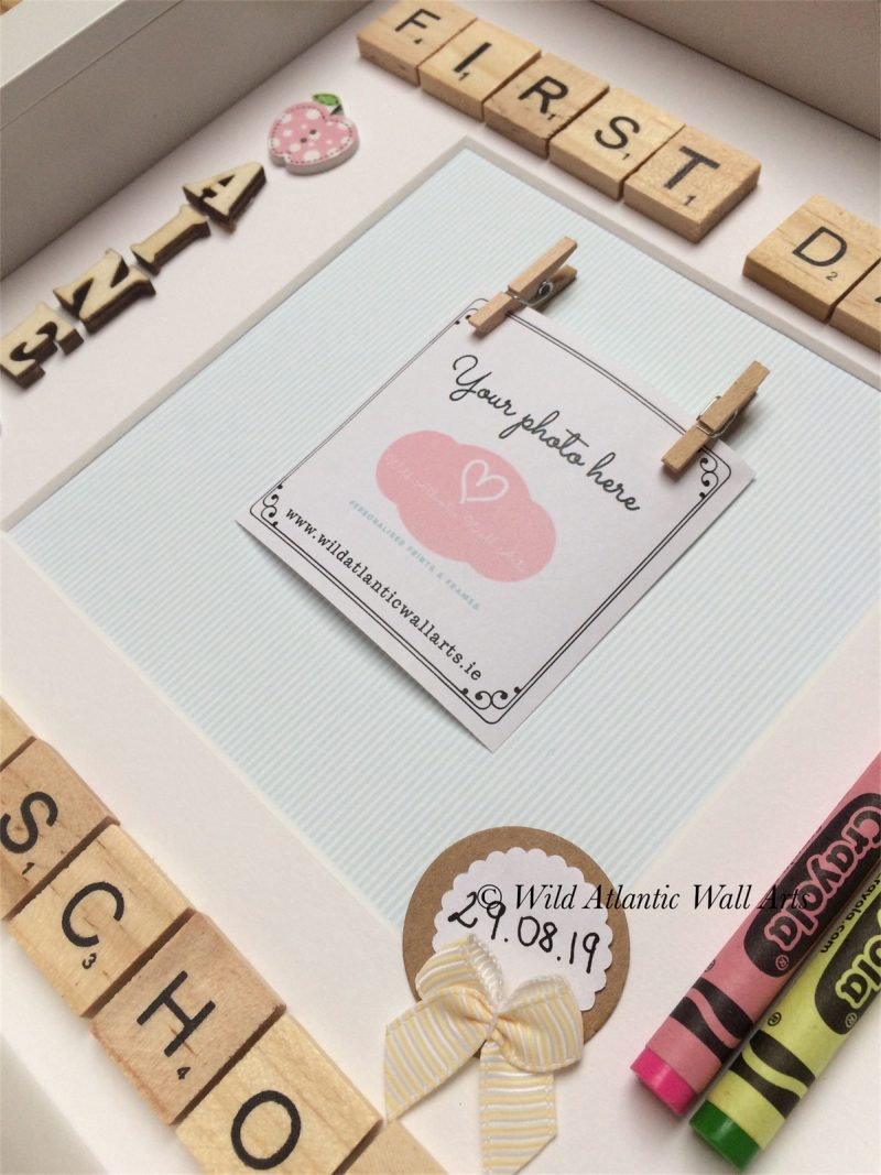 This beautiful, fun and colourful First Day at School Scrabble Frame makes a wonderful keepsake for any child who starts their first day in Playschool, school or just start a new class. A beautiful way to display the cherished photo of the first day