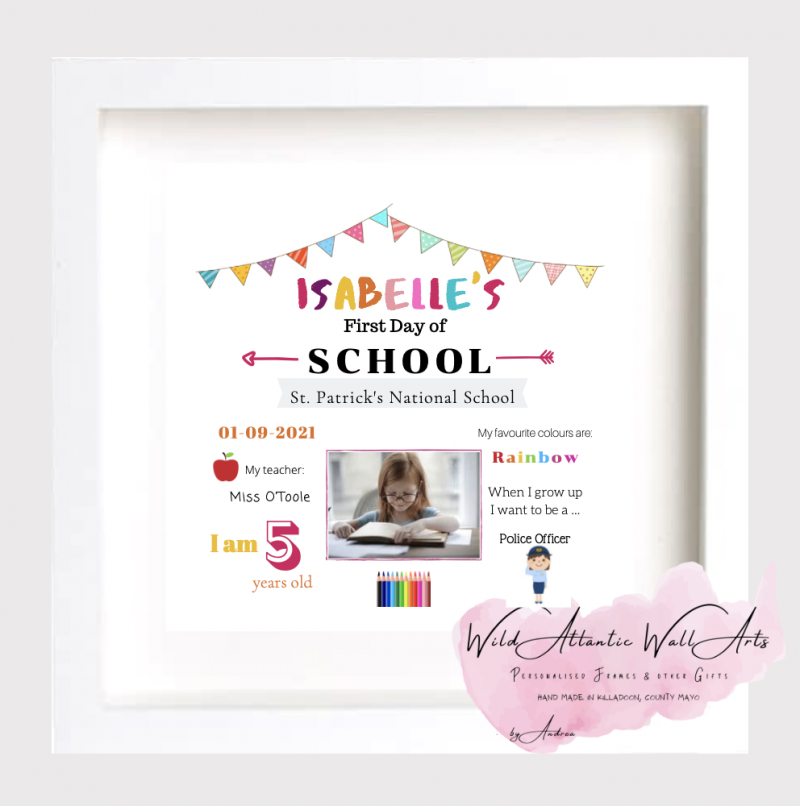 First Day of School, First Day of Playschool Creche, Nursery. First day of photo frame. Personalised Frame for starting school, going back to school gift. First day school keepsake. irish. first day present, gift idea