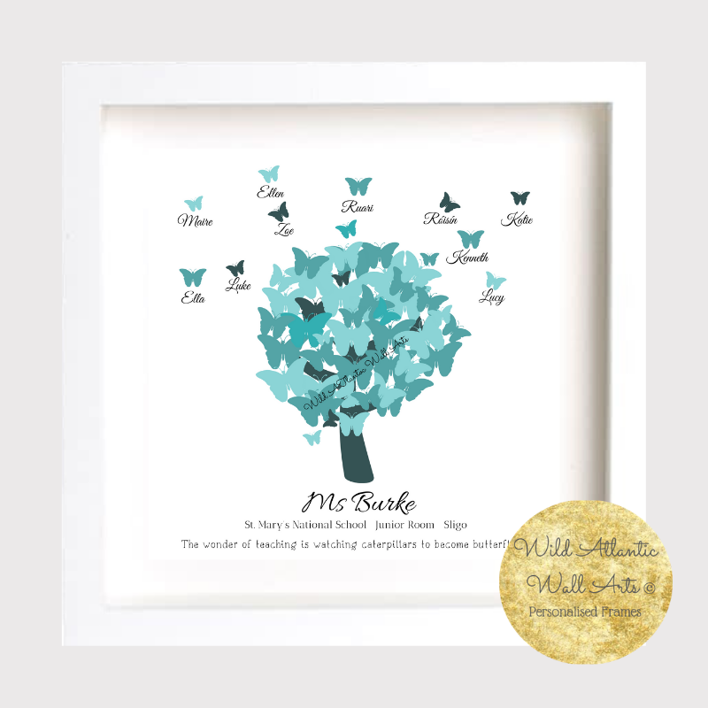 Thank You Teacher Butterflies. Thank You Teacher Frame makes the perfect gift for the perfect teacher. Personalised Butterflies.