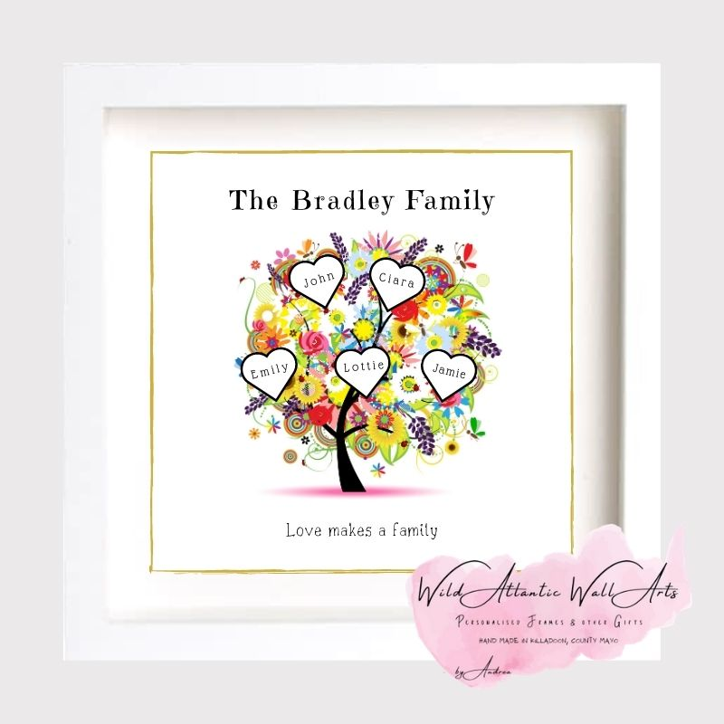 Personalised Colourful Tree design . Ideal present for any occasions. Family, Retirement, Anniversary, Birthday. Családfa keret