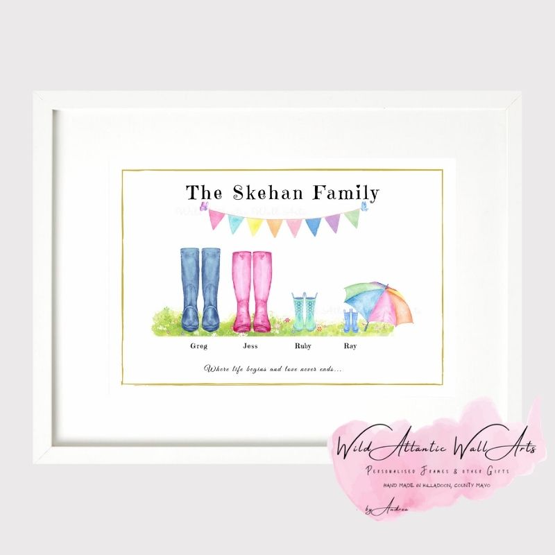 Personalised wellies, welly boots frame makes an ideal gift to any family. It suits to any occasions, wedding, christening, new home, new family, grandparents, godparents gift . Kids wellies, welly family. welly boots family. Mother's Day, birthday, gift