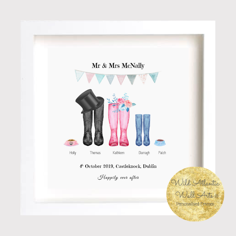 Personalised Wedding Boots print with bride and groom's names and other family members. Wedding Keepsake, Gift Frame