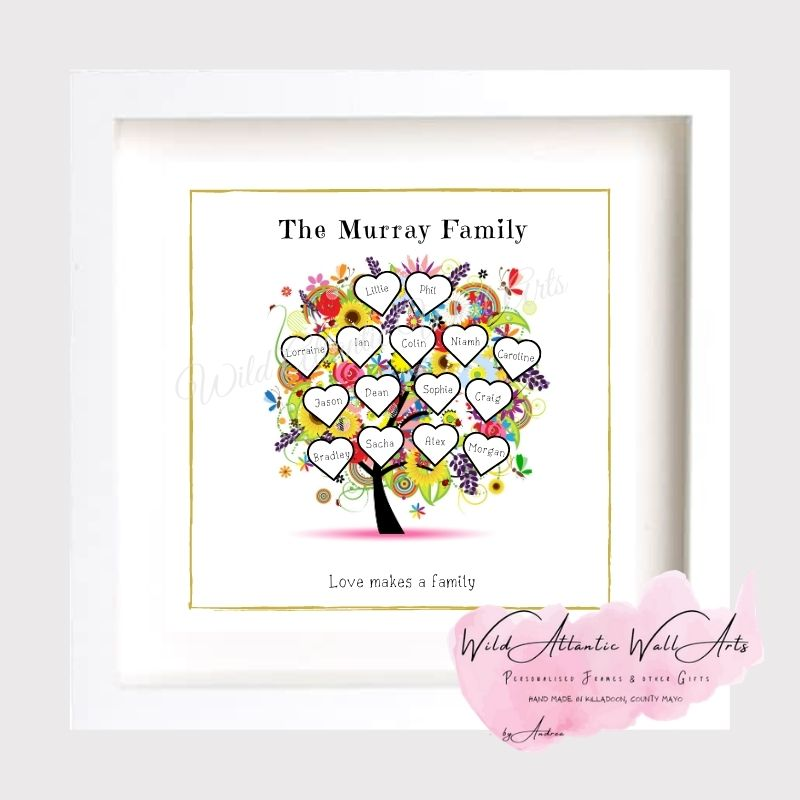 Family Tree, Grandparents gift, parents gift, present. Personalised Colourful Tree design . Ideal present for any occasions. Family, Retirement, Anniversary, Birthday. Családfa keret
