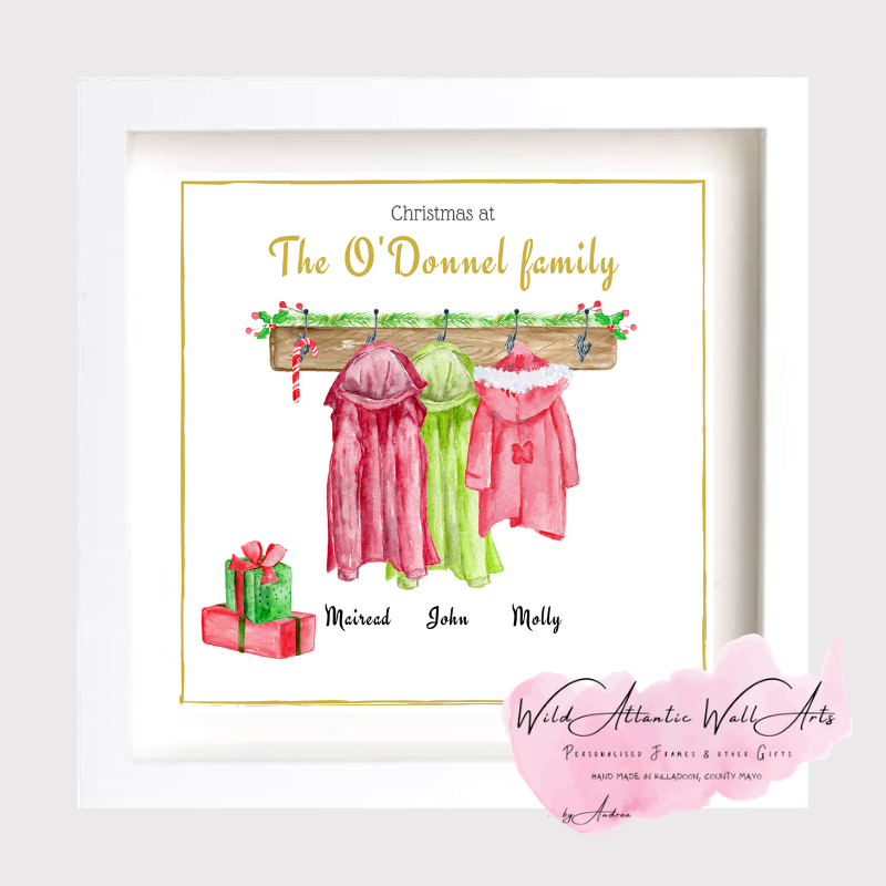 Personalised Christmas Coats on hooks - ideal Christmas gift to a family, personalised family coat print, archival framed print. Festive gift. Thank you gift. Lockdown Christmas. Christmas 2020.Family present idea