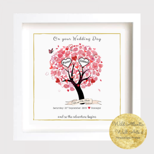 Personalised gift frame for mr and mrs or civil partnership. Personalised gift, a way to say congratulations to the happy couple of the occasion of wedding. Bride and groom, and so the adventure begins..