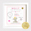 New Baby Gift. Baby Elephant Birth Stats, New Baby Gift, christening gift, personalised frame displays all the birth details of the baby. Keepsake, Treasure baby's details. Blue for boys, pink for girls. Personalised Baby Gift. What to get for birth?