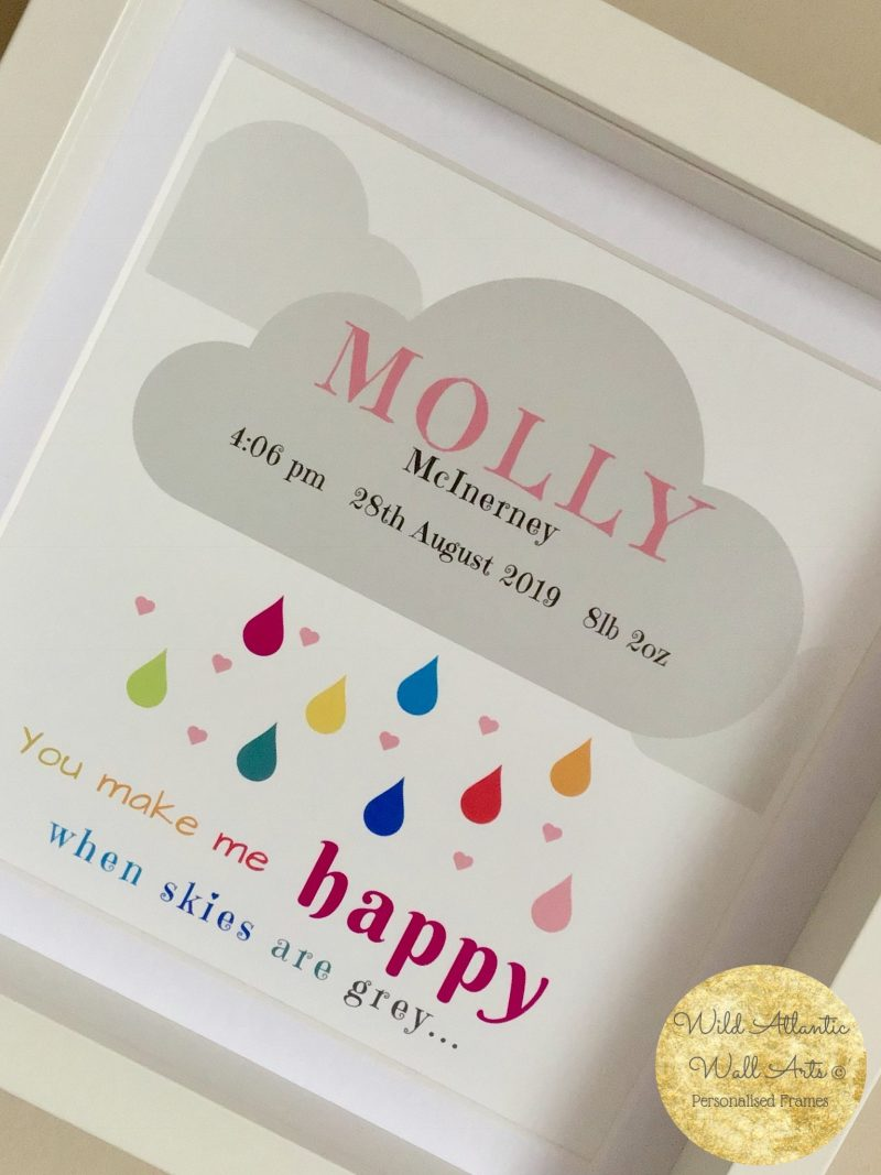 personalised kids wall art. room decoration. you make me happy when skies are grey. personalised keepsake. new baby gift, birthday gift, room decor. wild Atlantic wall arts. wild Atlantic Louisburgh