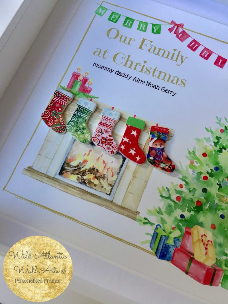 Christmas Stockings wooden embellishments - make a wonderful festive gift to anyone. Personalised Gift Frame . Order now on sale at Wild Atlantic Wall Arts.