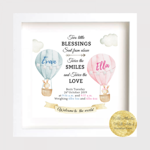 Two little blessings sent from above Baby frame for twins. Personalised twin gift, keepsake