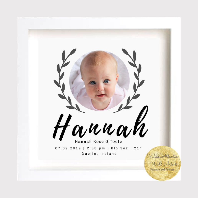 New Baby Gift, christening gift, personalised frame displays all the birth details of the baby. Keepsake, Treasure baby's details. Blue for boys, pink for girls room decoration, personalised frame