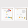 When it rains look for rainbows by Oscar Wilde. Personalised Baby, nursery wall art. Framed archival print .Gift Frame for birth, christening, Christmas