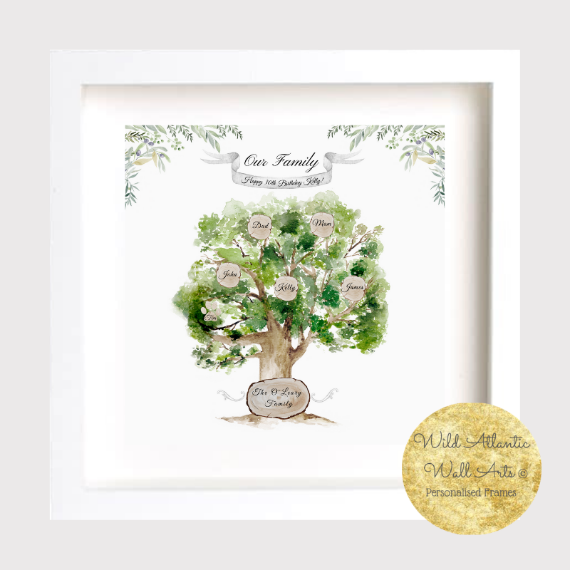 Personalised Family Oak Tree , Green Tree design.Ancestry. Ideal present for any occasions. Family, Retirement, Anniversary, Birthday