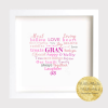 Grand/mother Word Heart -Word Cloud Frame. Mother's Day gift. Personalised print, Gift Frame, Personalised Gift idea. Present, Family, Mom, Grandmother