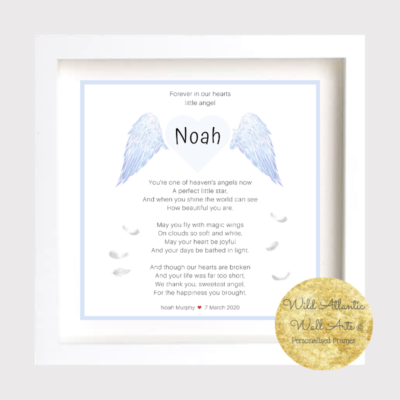 Baby Remembrance Frame | Baby | Child Loss | Angel This  Personalised Baby Clock Frame makes a touching and very special keepsake for bereaved parents and family at a difficult time. Forever in our hearts. Baby Angel. Baby Loss. baby Child Memory Frame. Angel Baby. in Heaven.. wings