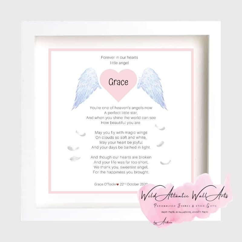 Baby Remembrance Frame | Baby | Child Loss | Angel This  Personalised Baby Clock Frame makes a touching and very special keepsake for bereaved parents and family at a difficult time. Forever in our hearts. Baby Angel. Baby Loss. baby Child Memory Frame. Angel Baby. in Heaven.. wings. memorial keepsake