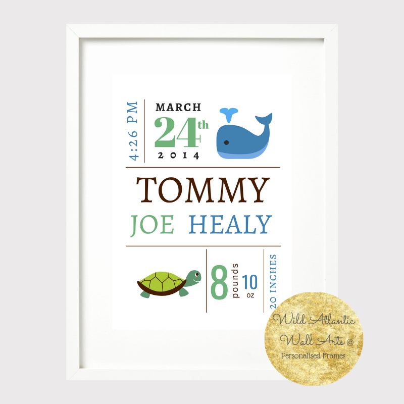 Personalised New baby Gift Frame. Birth Stats. Room decoration. It's a girl, It's a boy! Baby Gift. Personalised print. Baby animals, cute animals, nursery baby room decoration.Birth Stats. Baby's Birth Details, keepsake gift