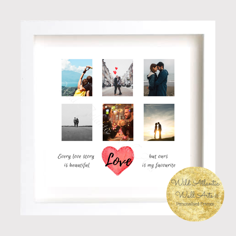 Love Story, Personalised unique gift frame. Valentines Day, Birthday, gift. Personalised. irish. Hand made in Ireland . Picture Collage. Develop photo. Archival. quality