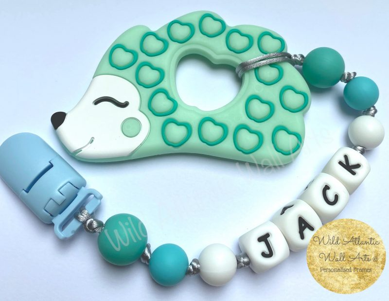 Personalised dummy clip, soother clip. Baby Silicon Teether , Personalised Silicon teether Chain | Silicon teether, teething gift, teether. Personalised Baby Gift, Personalised Teether. Irish. Ireland. Handmade. Animal Teether. Hedgehog. Pacifier, soother, dummy clip chain.