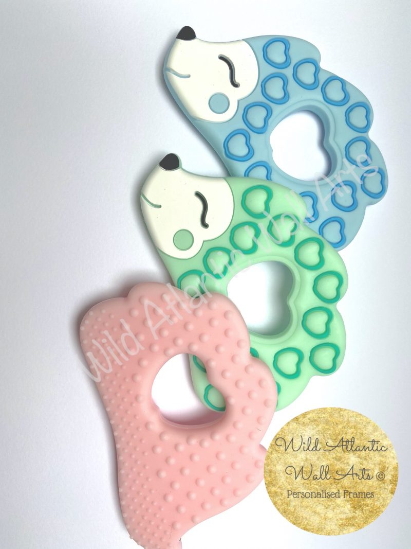 Baby Silicon Teether , Personalised Silicon teether Chain | Silicon teether, teething gift, teether. Personalised Baby Gift, Personalised Teether. Irish. Ireland. Handmade. Animal Teether. Hedgehog. Pacifier, soother, dummy clip chain.