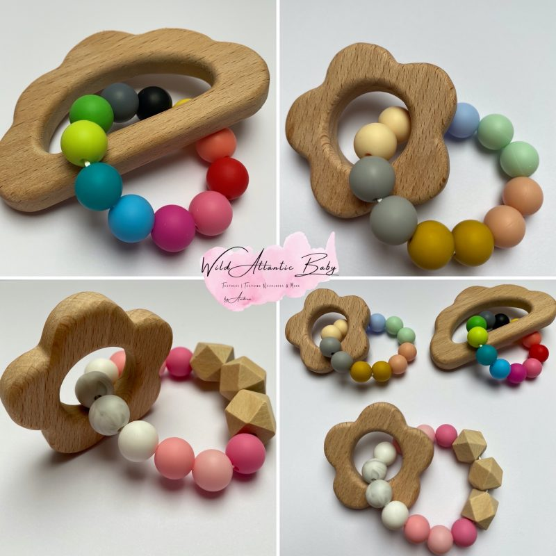 Natural Wood Teether, Baby Teething Gift, Baby Gift. Handmade, Irish business, small business. Colourful teether, natural wood, untreated. Teething toy. Natural wood teether with colourful silicon beads.Ireland.Irish, ie